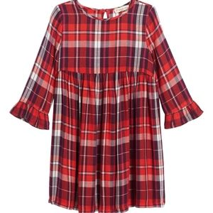 Tucker + Tate Plaid Flutter Sleeve Dress Girls New
